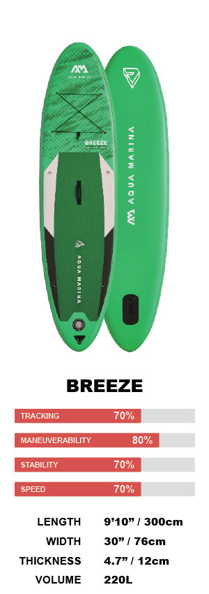 """Aqua Marina Breeze 9'10"""" Inflatable Stand Up Paddleboard Package"""