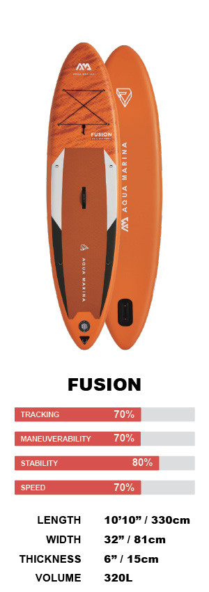 """Aqua Marina Fusion 10'10"""" Inflatable Stand Up Paddleboard Package"""